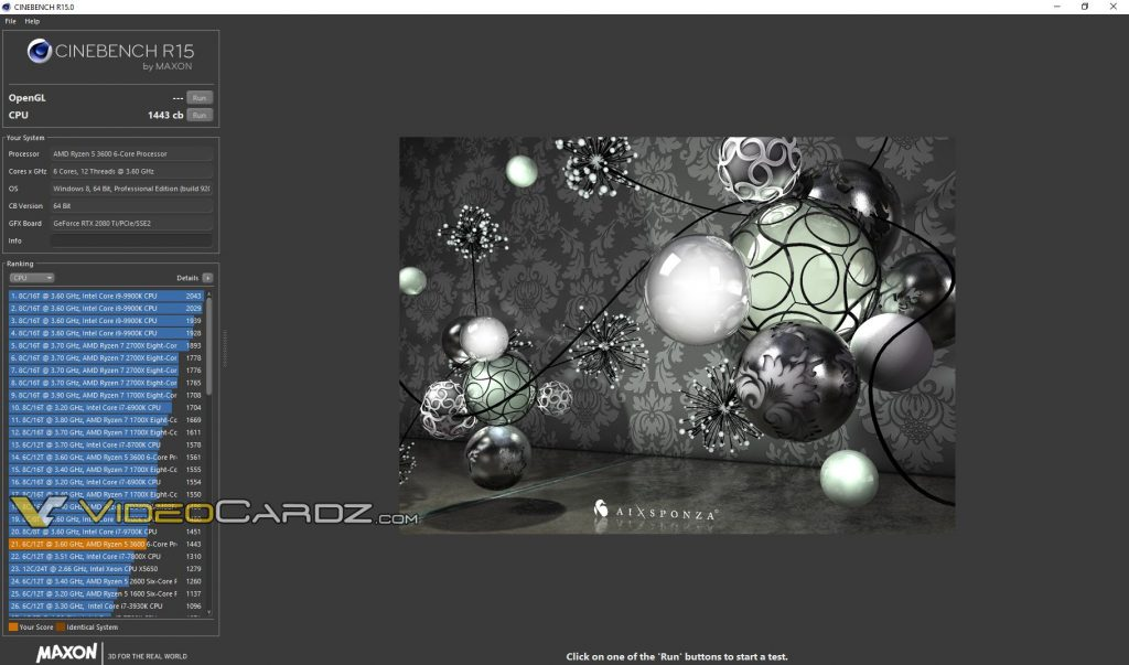 Cinebench R15 AMD Ryzen 5 2600